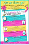 5 Fabulously Fun Road Trip Games for kids and grandkids printable