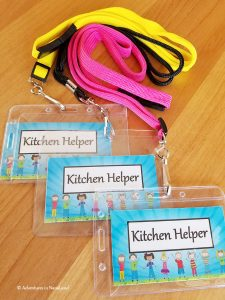 Kitchen helper badges for planning grandma camp, Kitchen helper badges on lanyards