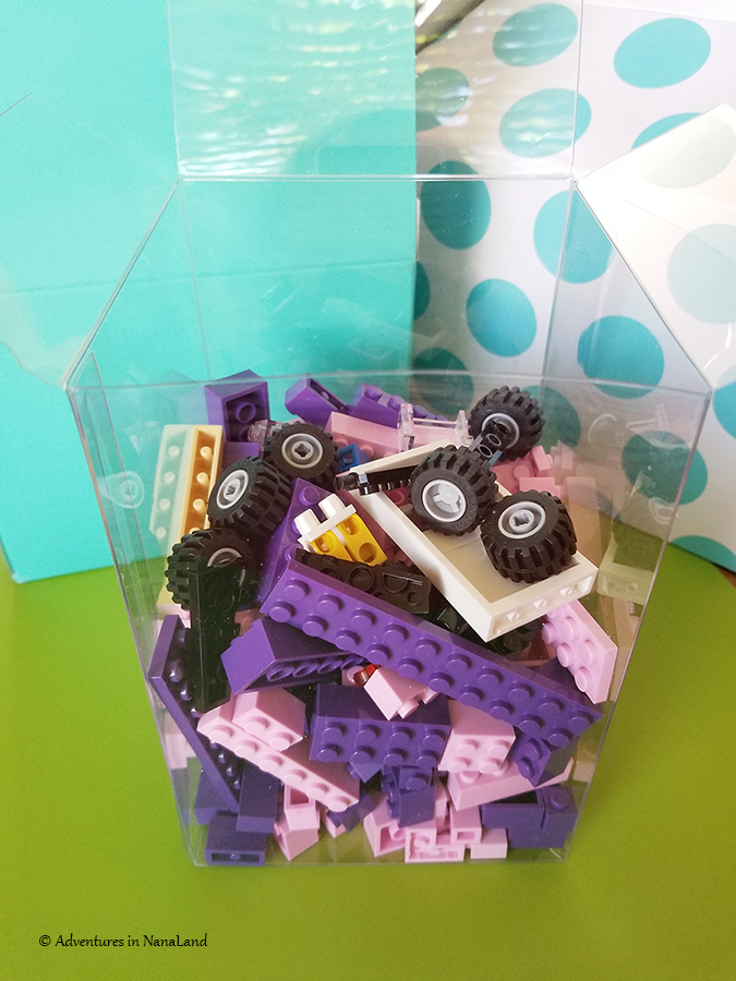 Clear gift box with LEGOs inside