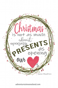 Christmas is not as much about opening presents as opening our hearts.